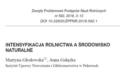 Nowa publikacja w Zeszyty Problemowe Postępów Nauk Rolniczych