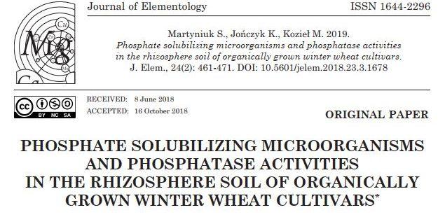 Nowa publikacja w czasopiśmie Journal of Elementology