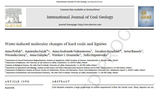 Nowa publikacja w International Journal of Coal Geology